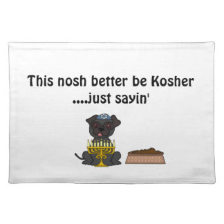 Jewish Doggie Humor-Cute Dark Haired Pug+Dog Food Cloth Placemat