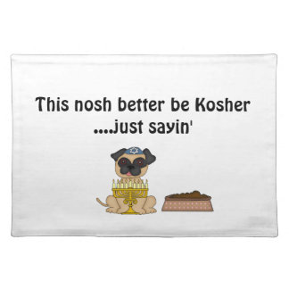Jewish Doggie Humor-Cute Pug+Dog Food Cloth Placemat
