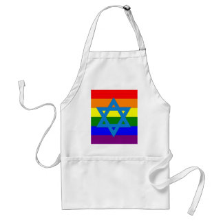 Jewish Gay Pride Flag Adult Apron