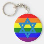 Jewish Gay Pride Flag Basic Round Button Keychain