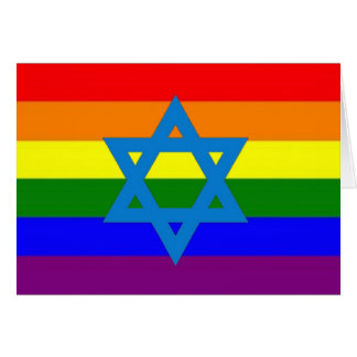Jewish Gay Pride Flag Card