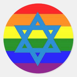 Jewish Gay Pride Flag Classic Round Sticker