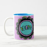 "Jewish Gift Coffee Mug-Devorah Two-Tone Coffee Mug<br><div class=""desc"">My Jewish Name Coffee Mug featuring modern and fun doodle. Devorah is the featured name on this multi color mug. Bat Mitzvah's or birthdays,  this mug is one of a kind.</div>"