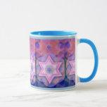 "Jewish Gift Coffee Mug-Kabbalah Mug<br><div class=""desc"">Geometric Star of David with Kabbalistic Motif background in pinks and purples.</div>"