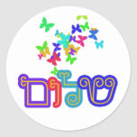"Jewish Gift Idea, Stickers<br><div class=""desc"">Sheet of 20 round stickers featuring butterflies and the message of peace,  Shalom.  Fun gift for your classroom.</div>"