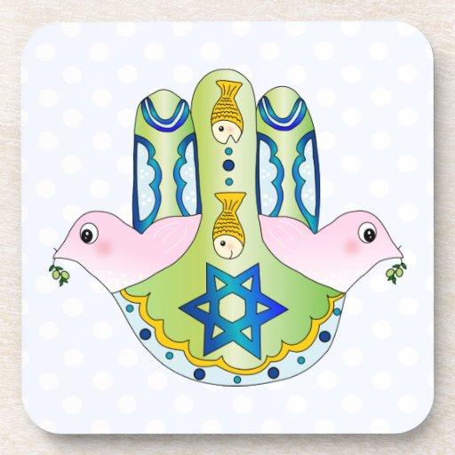 Jewish Hamsa Beverage Coaster