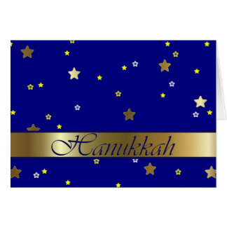 Jewish Hanukkah Golden Blue Stars Greeting Card