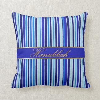 Jewish Hanukkah Golden Blue Stripes Throw Pillow