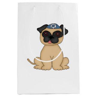 Jewish Holiday-Cute Beige Pug with Yarmulke Medium Gift Bag