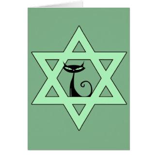 Jewish Kitty Cat Star of David Card