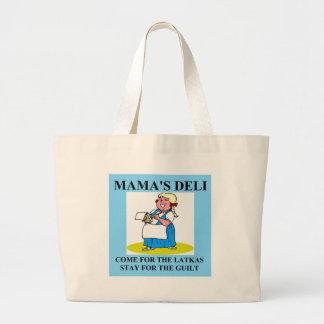 jewish mama guilt and latkes large tote bag