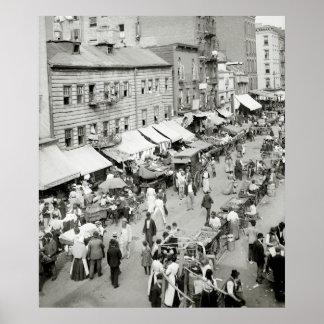 Jewish Market, NYC 1890s Print