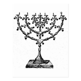 Jewish menorah postcard