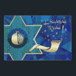 "Jewish New Year | Rosh Hashanah Placemats<br><div class=""desc"">L&#39;Shanah Tovah. Shofar, Star of David and Pomegranate Design Jewish New Year 
