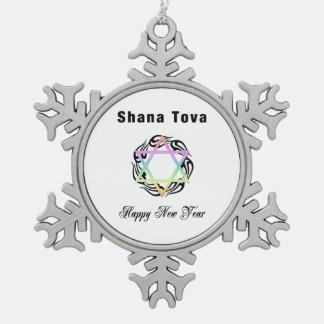 Jewish New Year Snowflake Pewter Christmas Ornament