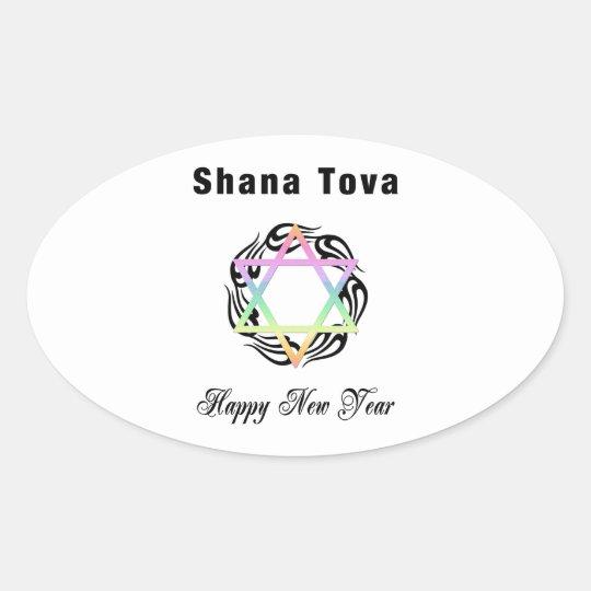 Jewish New Year Star of David Oval Sticker