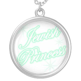 Jewish Princess teal Round Pendant Necklace