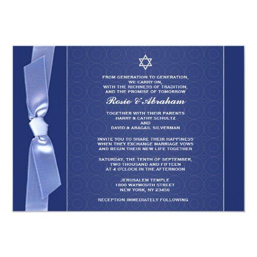 Jewish Ribbon Wedding Flat Invitations Zazzle