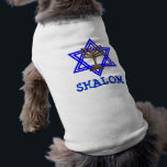 """Jewish SHALOM Dog Pet T-Shirt<br><div class=""""desc"""">Now your dog can express them self with fabulous fashion apparel.  Let your pup spell out its attitude with this awesome shirt and saying. Dog T-Shirts are great gifts making a big hit with that special pup&#39;s owner.</div>"""