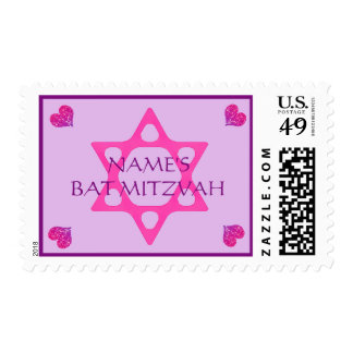 Jewish Star and Hearts Bat Mitzvah Postage