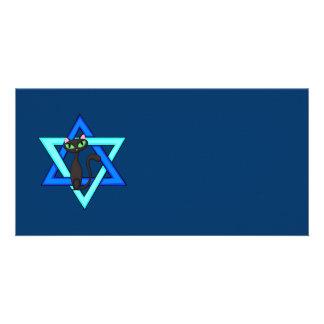 Jewish Star Cats Custom Photo Card