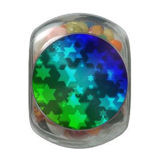 Jewish Star Celebration Background Bokeh Glass Candy Jars