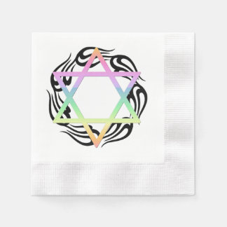 Jewish Star Colors Coined Cocktail Napkin