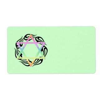 Jewish Star Colors Shipping Label