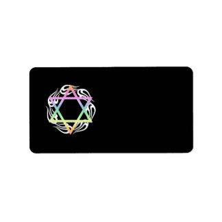 Jewish Star Colors Address Label