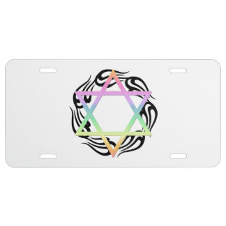 Jewish Star Colors License Plate