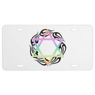 Jewish Star Colors License Plate