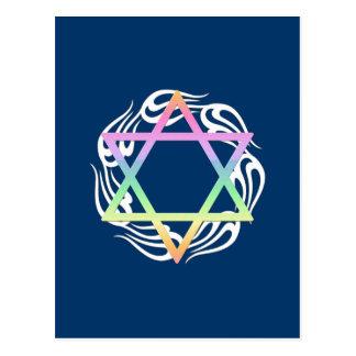 Jewish Star Colors Postcard