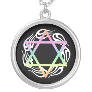 Jewish Star Colors Silver Plated Necklace