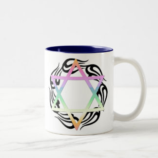 Jewish Star Colors Two-Tone Coffee Mug