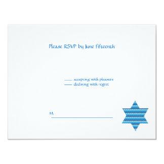 Jewish Star David Twins B'Nai Bnai Mitzvah RSVP Card