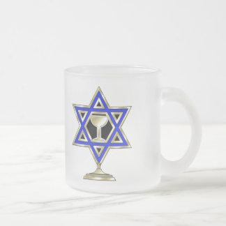 Jewish Star Frosted Glass Coffee Mug