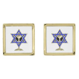 Jewish Star Gold Finish Cuff Links