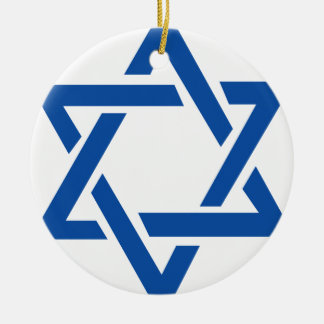 Jewish Star of David Blue Double-Sided Ceramic Round Christmas Ornament