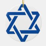 Jewish Star of David Blue Round Ceramic Decoration