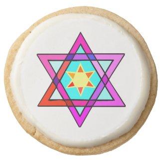 Jewish Star Of David Round Premium Shortbread Cookie