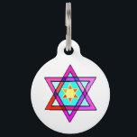 """Jewish Star Of David Pet ID Tag<br><div class=""""desc"""">Jewish gifts and gift ideas with stained glass Jewish Star of David.</div>"""