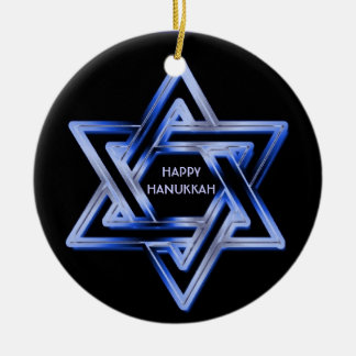 Jewish Star of David Shines Happy Hanukkah Ornament