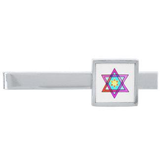 Jewish Star Of David Silver Finish Tie Bar