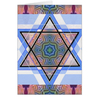 Jewish Star on moire Greeting Cards