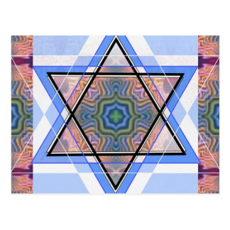 Jewish Star on moire Post Card