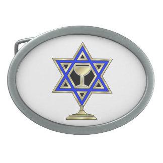 Jewish Star Oval Belt Buckle