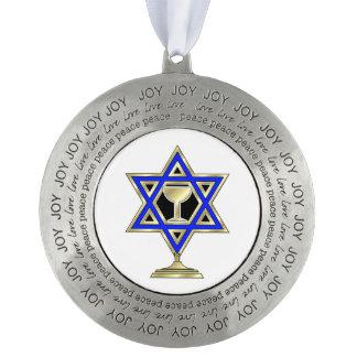 Jewish Star Round Pewter Christmas Ornament