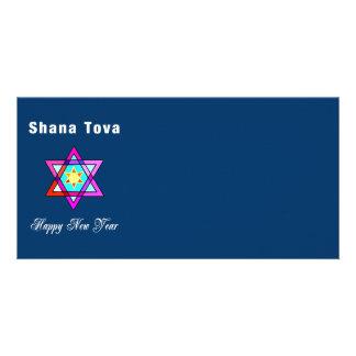 Jewish Star Shana Tova Personalized Photo Card