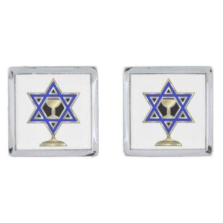 Jewish Star Silver Finish Cufflinks