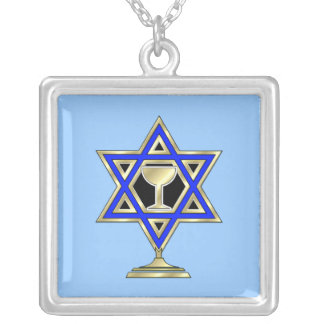 Jewish Star Silver Plated Necklace